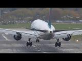 Жесткие посадки самолетов при сильном боковом ветре.